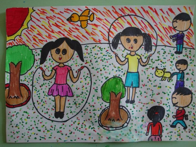 四年级美术 作品欣赏 放学了图片
