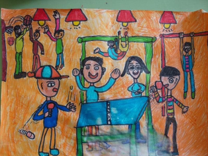 四年级美术作品欣赏(放学了)